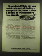 1972 American Electric Power System Ad - Take Charge