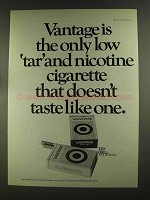1972 Vantage Cigarettes Ad - Low Tar and Nicotine
