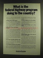 1972 American Trucking Association Ad - Highway Program