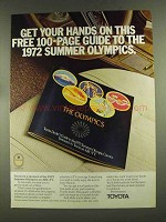 1972 Toyota Cars Ad - Guide to 1972 Summer Olympics