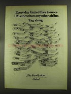1972 United Airlines Ad - Flies To More U.S. Cities