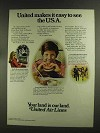 1972 United Airlines Ad - Easy to See the U.S.A.