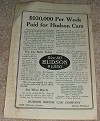 1914 Hudson Six-40 Car Ad, $930,000 per Week!