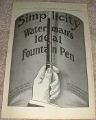 1914 Waterman Ideal Pen Ad, Simplicity!!!