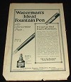 1914 Waterman Ideal Fountain Pen Ad Accurate!