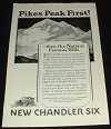 1923 Chandler Six Car Ad, Pikes Peak First!!