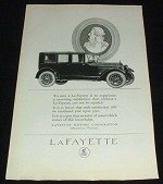 1923 Lafayette Car Ad, Motoring Satisfaction!