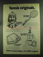 1972 Usher's Green Stripe Scotch Ad - Tennis Originals
