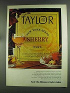 1972 Taylor Sherry Ad - Taste the Difference