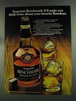 1972 Seagram's Benchmark Bourbon Ad - Think Twice