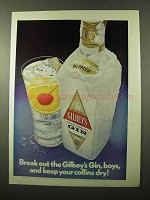 1972 Gilbey's Gin Ad - Keep Your Collins Dry