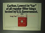 1972 Carlton Cigarettes Ad - Lowest in Tar