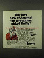 1972 Thrifty Rent-a-Car Ad - Top Corporations Picked