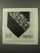 1972 Resilio Necktie Ad - How Narrow Should Be?