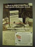 1972 Post Grape-Nuts Ad - Back in 1898 was Good