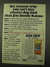 1972 Jim Dandy Complete Dog Ration Advertisement - Six Reasons