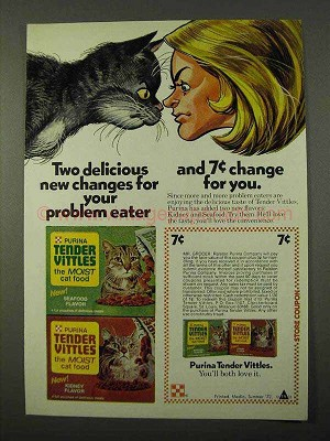 1972 Purina Tender Vittles Cat Food Ad Delicious Changes