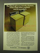 1972 Westinghouse LA 870P Washer and DE 870P Dryer Ad