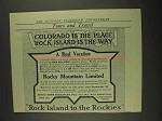 1908 Rock Island Railroad Ad - Colorado Is The Place