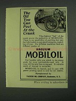 1908 Vacuum Mobiloil Ad - You Can Feel at The Crank