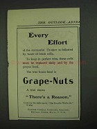 1908 Post Grape-Nuts Cereal Ad - Every Effort