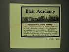 1908 Blair Academy Ad - Blairstown New Jersey