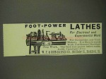 1908 W.F. & John Barnes Lathes Ad - Foot-Power
