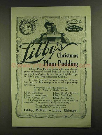 1907 Libby's Christmas Plum Pudding Ad