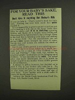 1907 Battle Creek Sanitarium Food Co. Ad - Baby's Sake