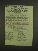 1907 The Farmers' Loan and Trust Company Ad