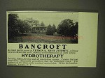 1907 Bancroft Health Resort Ad - Hydrotherapy