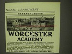 1907 Worcester Academy Ad