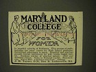 1907 Maryland College for Women Ad