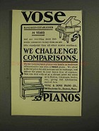 1906 Vose & Sons Piano Ad - We Challenge Comparisons