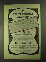 1903 Reliance Life Insurance Ad - A Philadelphia Lawyer