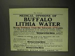 1903 Buffalo Lithia Water Ad - Medical Opinions