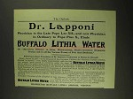 1903 Buffalo Lithia Water Ad - Dr. Lapponi