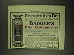 1903 Badger's Fire Extinguisher Ad - Protection