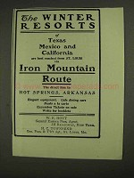 1903 Iron Mountain Line Ad - The Winter Resorts