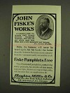 1903 Houghton, Mifflin & Co. Ad - John Fiske's Works