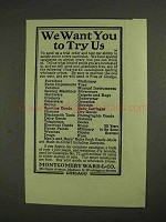 1903 Montgomery-Ward Department Store Ad - Try Us