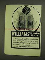 1903 Williams' Shaving Stick Ad - Commends Itself