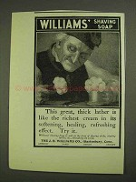 1903 Williams' Shaving Soap Ad - Great, Thick Lather