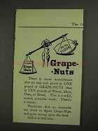 1903 Post Ad - 1 Pound Grape-Nuts 10 lbs. Flour