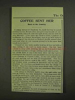 1903 Postum Coffee Ad - Coffee Sent Her Back to Country