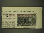 1903 United States Hotel Ad - Boston, Massachusetts