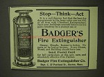 1903 Badger's Fire Extinguisher Ad - Stop - Think - Act