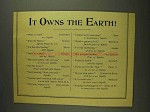 1893 Sapolio Soap Ad - It Owns the Earth