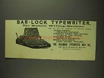 1893 Columbia Bar-Lock Typewriter Ad