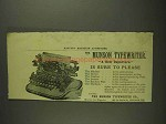1893 Munson Typewriter Ad - Is Sure to Please